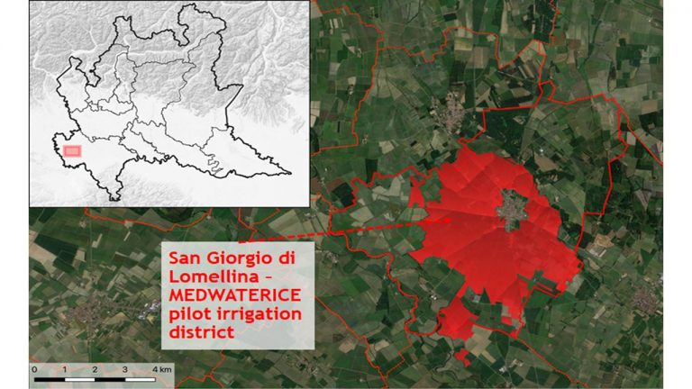 San Giorgio di Lomellina irrigation district (about 1000 hectares; PV), whose irrigation water is managed by the Irrigation Consortium Est Sesia